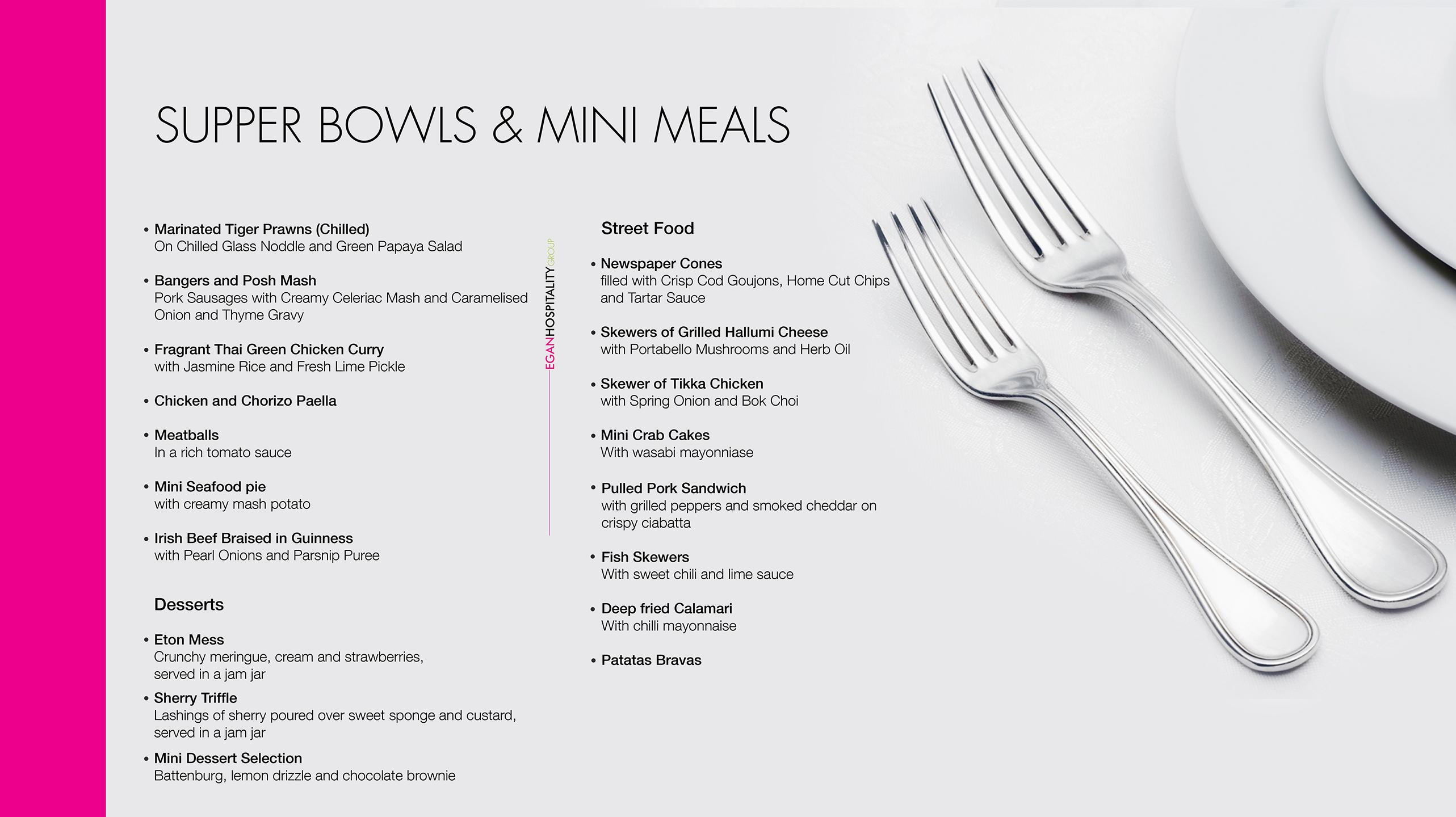 Mini Meals and Supper Bowls Menu